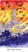 The Tower Tarot card in Tarot of the Golden Wheel deck