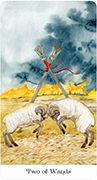 Two of Wands Tarot card in Tarot of the Golden Wheel deck