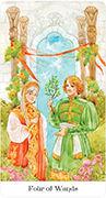 Four of Wands Tarot card in Tarot of the Golden Wheel deck