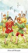 Five of Wands Tarot card in Tarot of the Golden Wheel deck