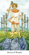 Seven of Wands Tarot card in Tarot of the Golden Wheel deck