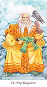 The Emperor Tarot card in Tarot of the Golden Wheel deck