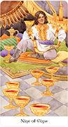 Nine of Cups Tarot card in Tarot of the Golden Wheel deck