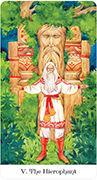 The Hierophant Tarot card in Tarot of the Golden Wheel deck
