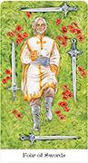 Four of Swords Tarot card in Tarot of the Golden Wheel deck
