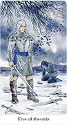 Five of Swords Tarot card in Tarot of the Golden Wheel deck