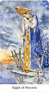 Eight of Swords Tarot card in Tarot of the Golden Wheel deck