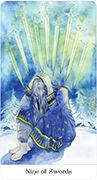 Nine of Swords Tarot card in Tarot of the Golden Wheel deck