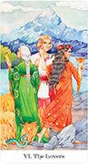 The Lovers Tarot card in Tarot of the Golden Wheel deck