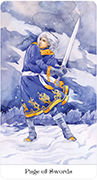 Page of Swords Tarot card in Tarot of the Golden Wheel deck