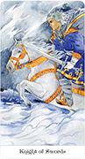 Knight of Swords Tarot card in Tarot of the Golden Wheel deck