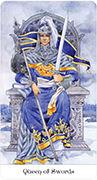Queen of Swords Tarot card in Tarot of the Golden Wheel deck