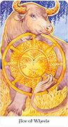 Ace of Wheels Tarot card in Tarot of the Golden Wheel deck