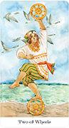 Two of Wheels Tarot card in Tarot of the Golden Wheel deck
