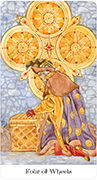Four of Wheels Tarot card in Tarot of the Golden Wheel deck