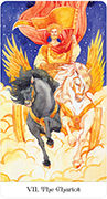 The Chariot Tarot card in Tarot of the Golden Wheel deck