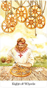 Eight of Wheels Tarot card in Tarot of the Golden Wheel deck