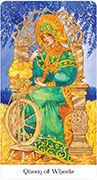 Queen of Wheels Tarot card in Tarot of the Golden Wheel deck
