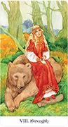 Strength Tarot card in Tarot of the Golden Wheel deck