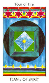 Four of Staves Tarot Card - Tarot of the Spirit Tarot Deck