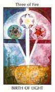 Three of Fire Tarot card in Tarot of the Spirit Tarot deck