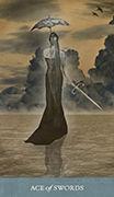 Ace of Swords Tarot card in Dreamkeepers Tarot deck