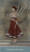 Seven of Swords Tarot card in Dreamkeepers Tarot deck