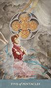 Five of Pentacles Tarot card in Dreamkeepers Tarot deck