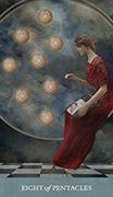 Eight of Pentacles Tarot card in Dreamkeepers Tarot deck