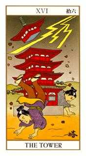 The Falling Tower Tarot Card - Ukiyoe Tarot Deck