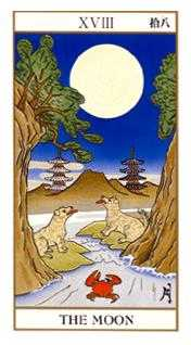 The Moon Tarot Card - Ukiyoe Tarot Deck