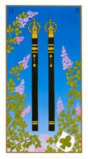 Two of Sceptres Tarot Card - Ukiyoe Tarot Deck