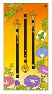 Three of Rods Tarot Card - Ukiyoe Tarot Deck