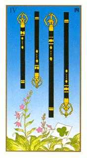Four of Batons Tarot Card - Ukiyoe Tarot Deck
