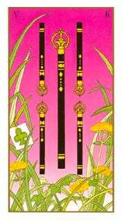 Five of Rods Tarot Card - Ukiyoe Tarot Deck