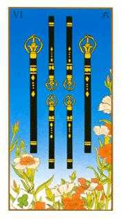 Six of Rods Tarot Card - Ukiyoe Tarot Deck