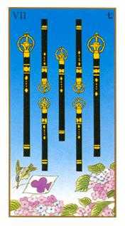 Seven of Rods Tarot Card - Ukiyoe Tarot Deck