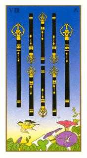 Eight of Staves Tarot Card - Ukiyoe Tarot Deck