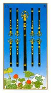 Nine of Staves Tarot Card - Ukiyoe Tarot Deck