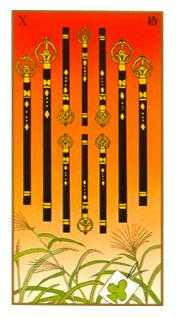 Ten of Batons Tarot Card - Ukiyoe Tarot Deck