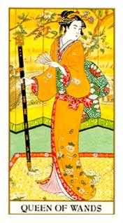 Queen of Batons Tarot Card - Ukiyoe Tarot Deck