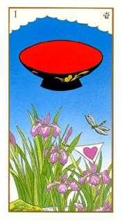 Ace of Hearts Tarot Card - Ukiyoe Tarot Deck