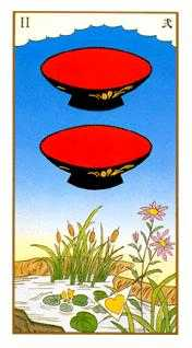 Two of Cups Tarot Card - Ukiyoe Tarot Deck