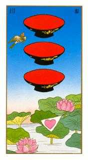 Three of Hearts Tarot Card - Ukiyoe Tarot Deck