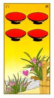 Four of Cups Tarot Card - Ukiyoe Tarot Deck
