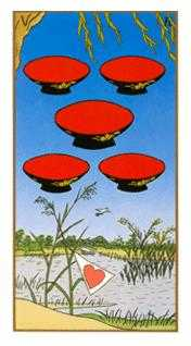 Five of Hearts Tarot Card - Ukiyoe Tarot Deck
