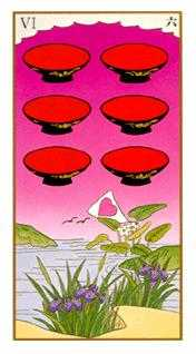 Six of Hearts Tarot Card - Ukiyoe Tarot Deck