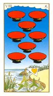 Eight of Hearts Tarot Card - Ukiyoe Tarot Deck