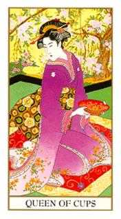 Queen of Bowls Tarot Card - Ukiyoe Tarot Deck
