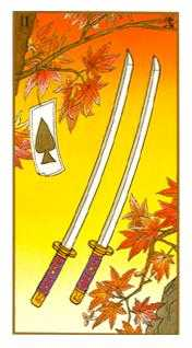 Two of Arrows Tarot Card - Ukiyoe Tarot Deck